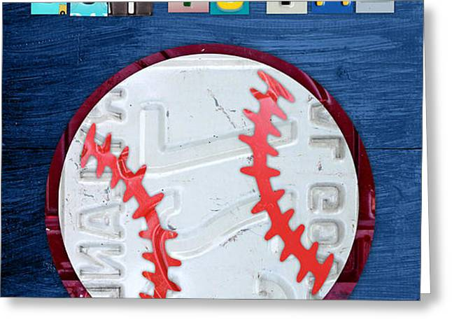Take Me Out to the Ballgame License Plate Art Lettering Vintage Recycled Sign Greeting Card by Design Turnpike