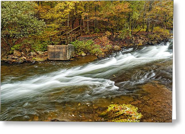 Beavers Bend Park Greeting Cards - Take me to the Other Side Beavers Bend Broken Bow Lake Flowing River Fall Foliage Greeting Card by Silvio Ligutti