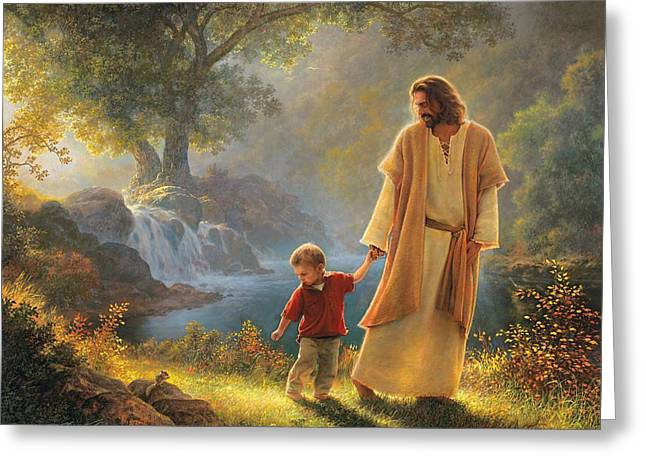 Jesus Christ Paintings Greeting Cards - Take My Hand Greeting Card by Greg Olsen