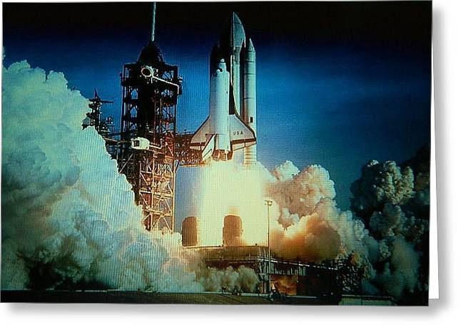 Space Shuttle Mixed Media Greeting Cards - Take Off Greeting Card by Gunter  Hortz