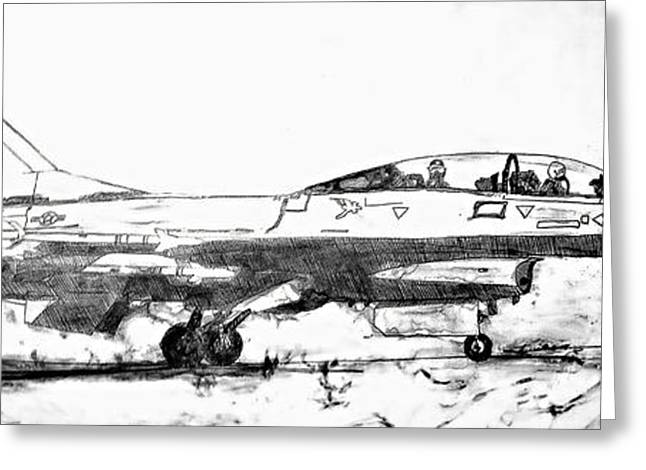 Jet Star Drawings Greeting Cards - Take off F-16 Greeting Card by Theresa Hudson