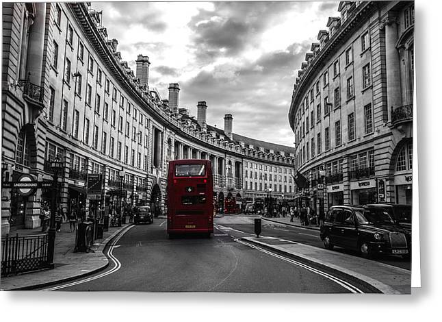 Underground Tour Greeting Cards - Take the Bus on Regent Street Greeting Card by Mountain Dreams