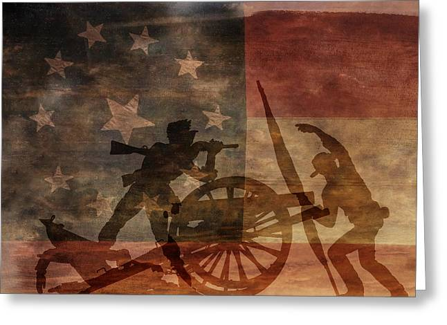 Take Charge Greeting Cards - Take the Cannon Silhouette Second of Three Greeting Card by Randy Steele