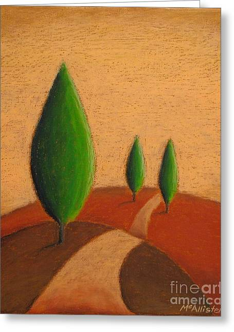 Tuscan Hills Pastels Greeting Cards - The path by the poplars Greeting Card by Graham McAllister