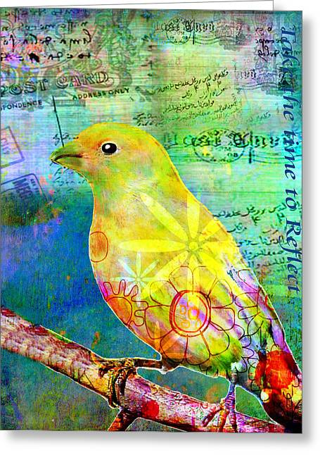 Nature Collage Greeting Cards - Take the Time to Reflect Greeting Card by Robin Mead