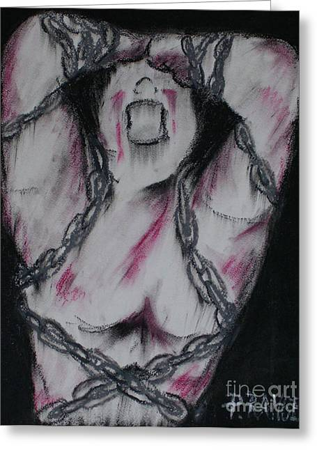 Symbolism Pastels Greeting Cards - Take these chains that are holding me down. Greeting Card by Phillip Rangel