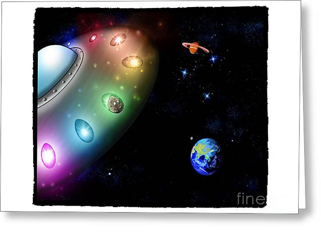Space Themed Nursery Greeting Cards - Taken Away by Alien Pigs Greeting Card by Star Mudersbach