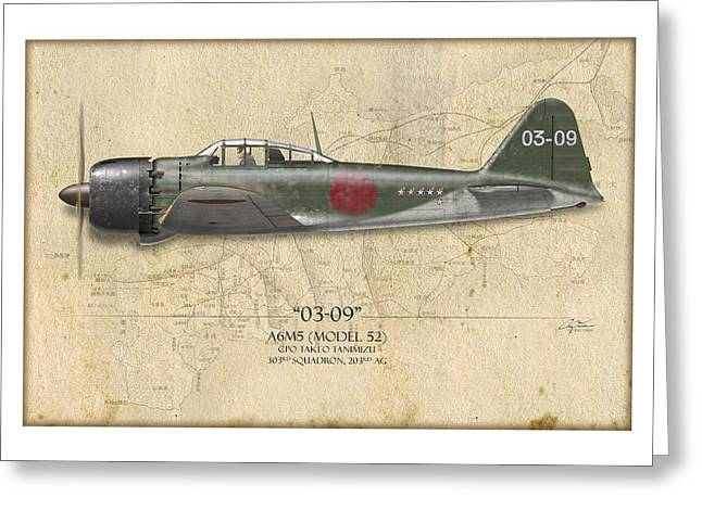 Aircraft Profiles Greeting Cards - Takeo Tanimizu A6M Zero - Map Background Greeting Card by Craig Tinder