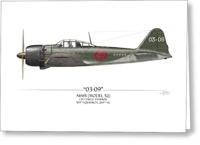 Kate Greeting Cards - Takeo Tanimizu A6M Zero - White Background Greeting Card by Craig Tinder