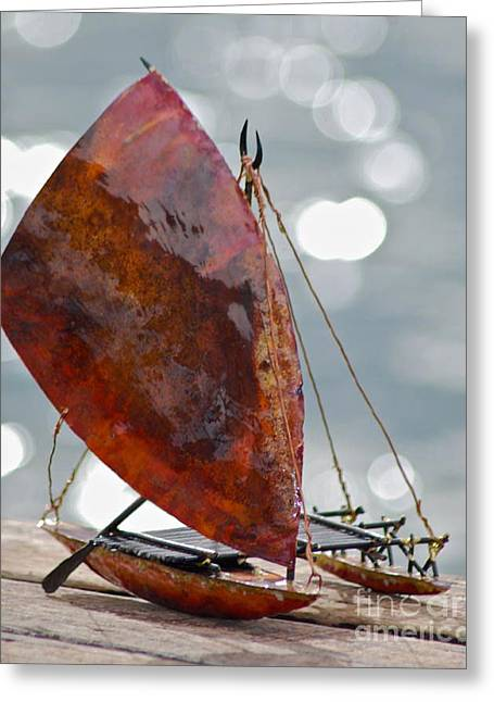 Canoe Sculptures Greeting Cards - Takia Greeting Card by Shane Bower