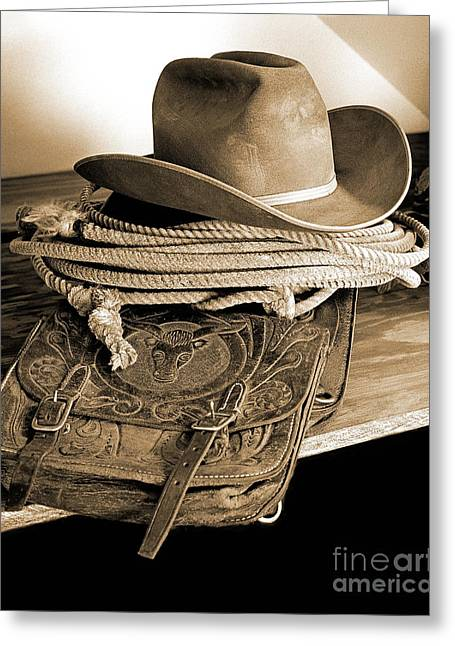 Old Western Photos Greeting Cards - Takin Stock Greeting Card by Don Schimmel
