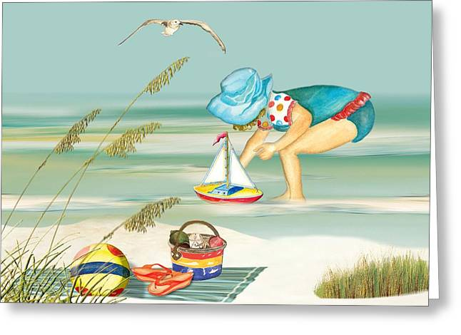 Toy Boat Paintings Greeting Cards - Taking a Boat Ride Greeting Card by Anne Beverley-Stamps