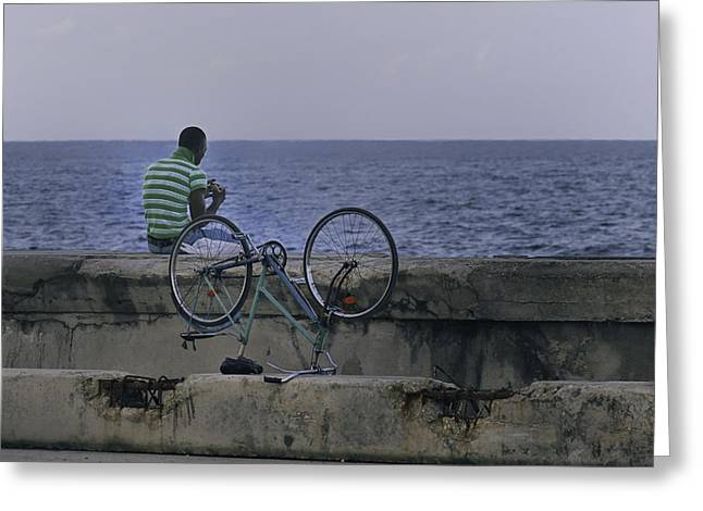 Malecon Greeting Cards - Taking a break.. Greeting Card by A Rey