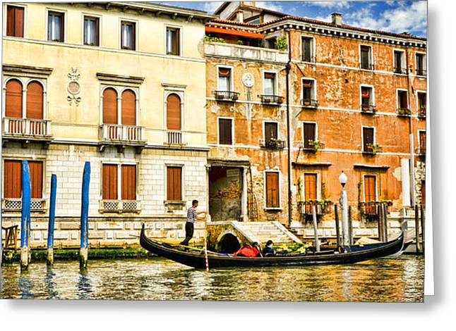 The Piazza Greeting Cards - Taking A Gondola Ride Greeting Card by Jon Berghoff