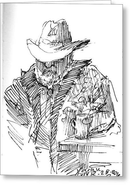 Cowboy Sketches Greeting Cards - Taking a nap Greeting Card by Ylli Haruni