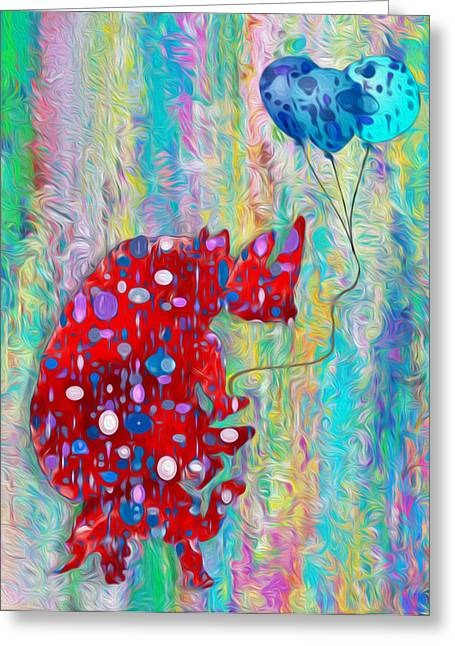 Abstracted Colorful Reality Greeting Cards - Carrying The Heavy Load - Rhino and Tortoise  Greeting Card by Jack Zulli