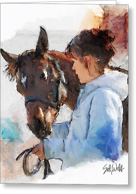 Keeneland Mixed Media Greeting Cards - Taking a Stroll Greeting Card by Sid Webb