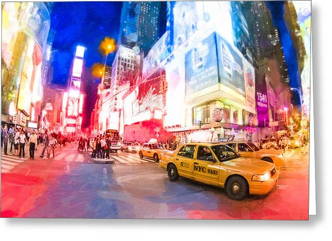 Yelllow Greeting Cards - Taking A Taxi Through Times Square Greeting Card by Mark E Tisdale