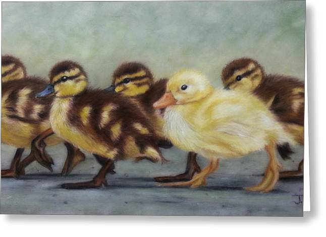 Baby Mallards Paintings Greeting Cards - Taking a walk Greeting Card by Julie Olsen