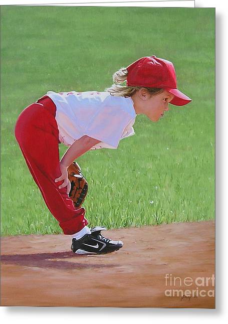 Softball Paintings Greeting Cards - Taking an Infield Position Greeting Card by Emily Land