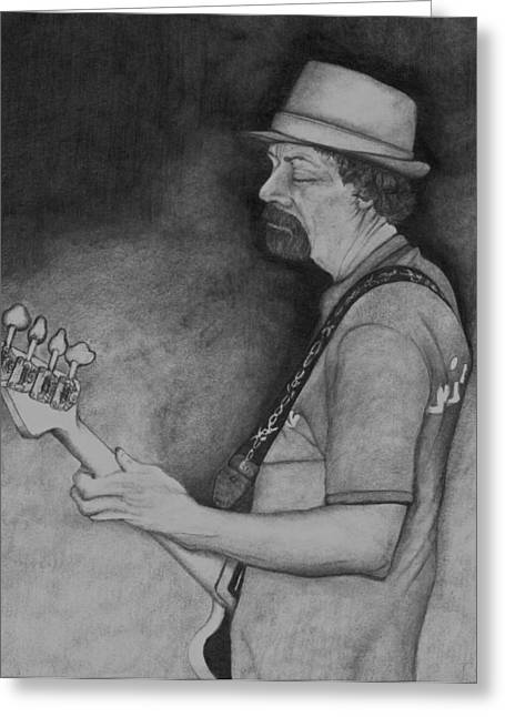 Player Drawings Greeting Cards - Taking care of the low end. Greeting Card by John Stuart Webbstock