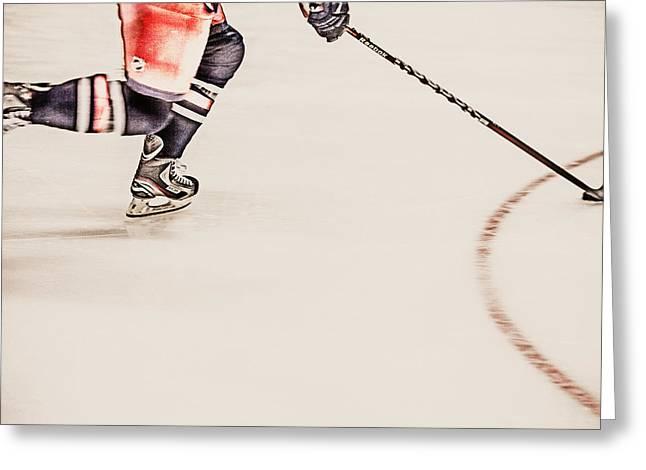 Hockey Equipment Greeting Cards - Taking It Greeting Card by Karol  Livote
