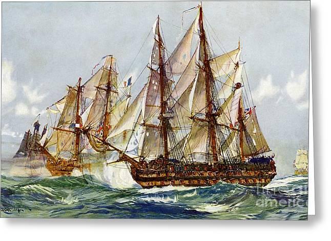 Battle Of Trafalgar Greeting Cards - Taking on the Duguay Trouin after Trafalgar Greeting Card by Charles Edward Dixon