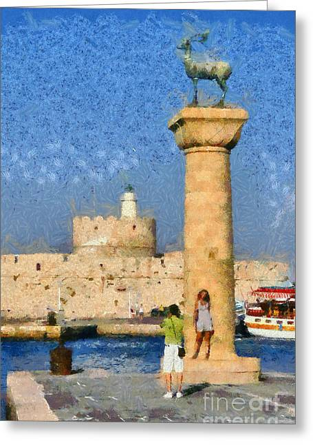 Statue Portrait Paintings Greeting Cards - Taking pictures at the entrance of Mandraki port Greeting Card by George Atsametakis