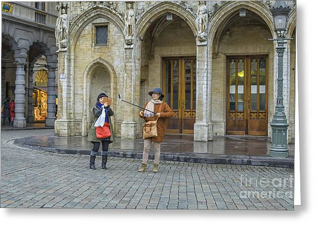 Cellphone Greeting Cards - Taking selfies as a tourist Greeting Card by Patricia Hofmeester