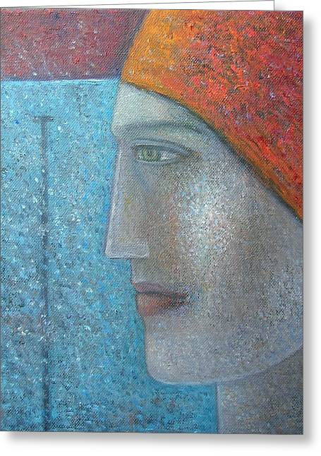 Woman Head Greeting Cards - Taking The Plunge, 2012, Oil On Canvas Greeting Card by Ruth Addinall