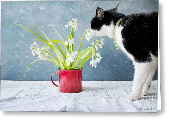 Puss Greeting Cards - Taking Time to Smell the Flowers Greeting Card by Linda Lees