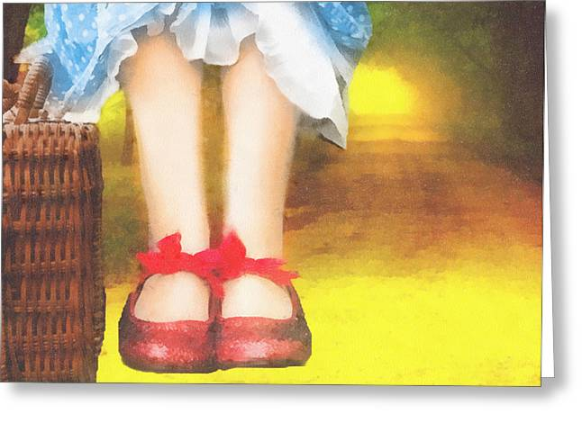 Red Shoe Greeting Cards - Taking Yellow Path Greeting Card by Mo T