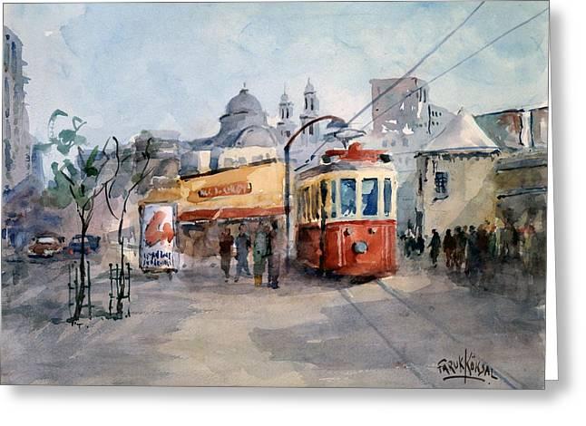 Tram Red Paintings Greeting Cards - Taksim Square - Istanbul  Greeting Card by Faruk Koksal