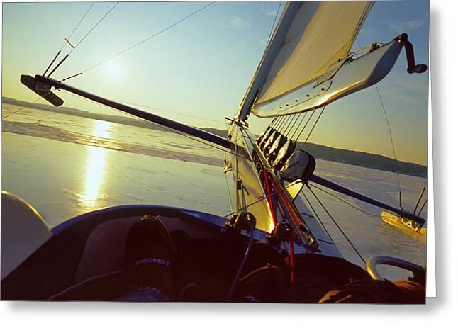 Buy Art Online Greeting Cards - Taku - Lift Off - Lake Geneva Wisconsin Greeting Card by Bruce Thompson