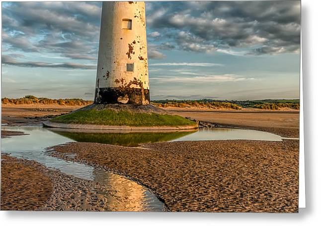Talacre Lighthouse Sunset Greeting Card by Adrian Evans