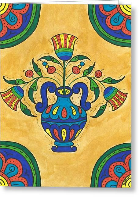 Talavera Flora 2 Greeting Card by Susie WEBER