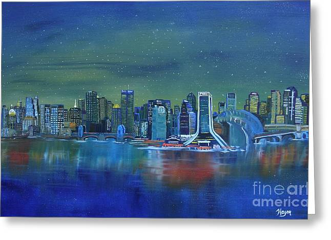 Phthalo Blue Greeting Cards - Tale of 4 Cities Greeting Card by Barbara Hayes