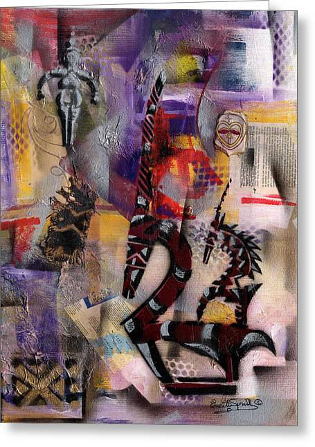 Everett Spruill Mixed Media Greeting Cards - Tale of the Chi-Wara - Female  2013 Greeting Card by Everett Spruill