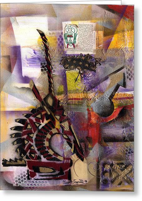 Everett Spruill Mixed Media Greeting Cards - Tale of the Chi-Wara - Male  2013 Greeting Card by Everett Spruill