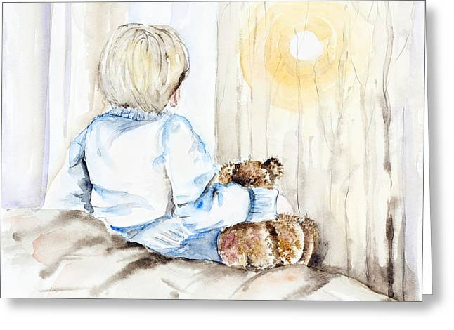 Pajamas Greeting Cards - Tale of the evening sun for a little boy Greeting Card by Irina Gromovaja