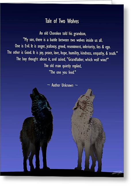Parable Greeting Cards - Tale of Two Wolves Greeting Card by Schwartz