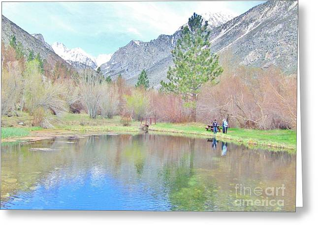 Big Pine Country Greeting Cards - Talking Fishing Greeting Card by Marilyn Diaz