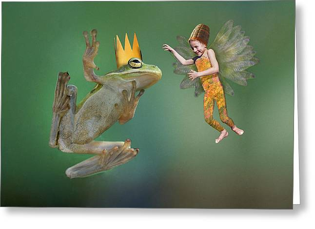 Flying Frog Greeting Cards - Talking With The Frog King Greeting Card by Buddy Mays