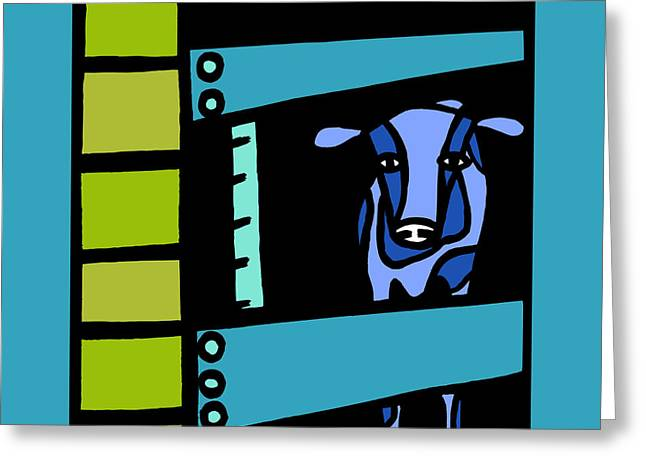 Steer Greeting Cards - Tall Cow Greeting Card by Anne Leuck Feldhaus