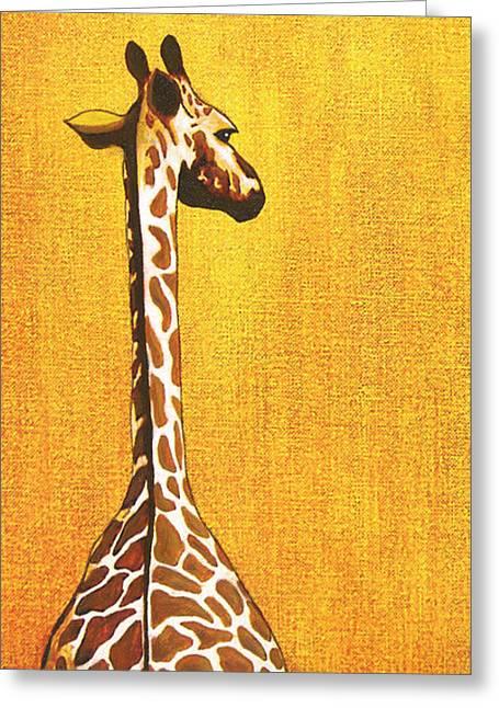 Zimbabwe Paintings Greeting Cards - Tall Giraffe Looking Back Greeting Card by Jerome Stumphauzer