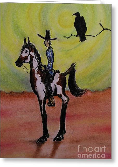 Sun Hat Pastels Greeting Cards - Tall In The Saddle Greeting Card by Catherine Howley
