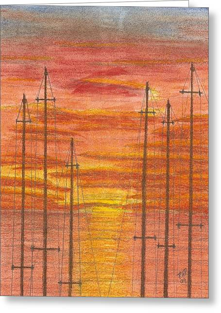 Masts Pastels Greeting Cards - Tall Mast Greeting Card by Ray Ratzlaff