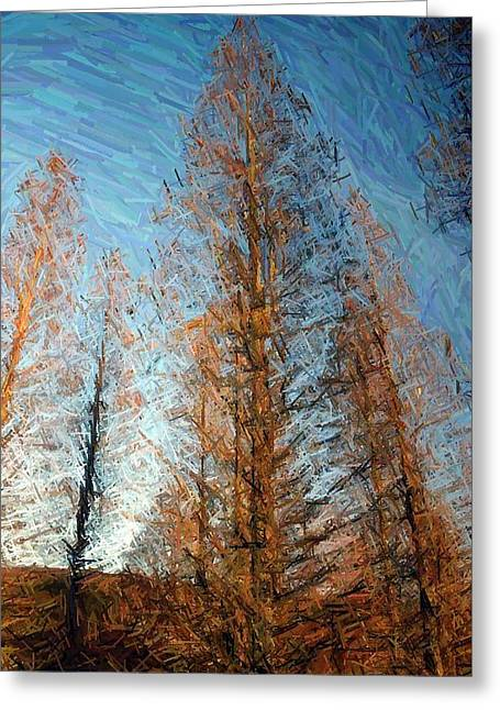 Pines Tapestries - Textiles Greeting Cards - Tall Pines in Autumn-Lake Nevin Greeting Card by Thia Stover