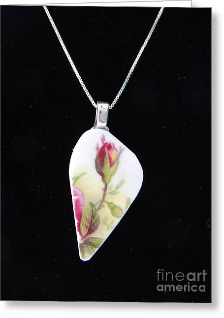 Roses Jewelry Greeting Cards - Tall Rose Pendant Greeting Card by Patricia  Tierney