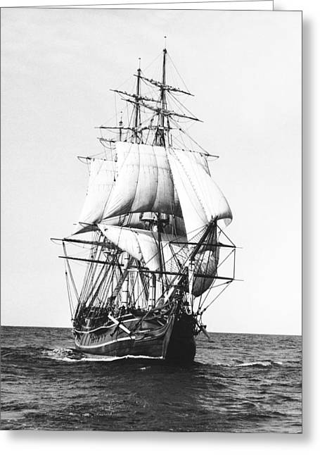 Sailing Ship Greeting Cards - Tall Sailing Ship Greeting Card by Underwood Archives